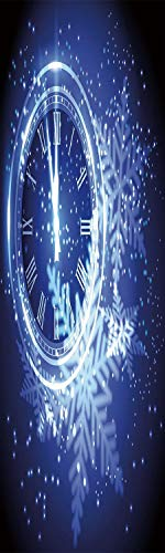 Clock Decor 3D Decorative Film Privacy Window Film No Glue,Frosted Film Decorative,Countdown to New Year Theme A Clock Holiday Lights and Snowflakes Pattern Design,for Home&Office,23.6x70.8Inch Blue