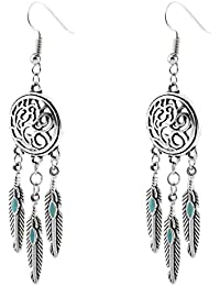 Clearance! Elogoog Womens Bohemian Feathers Earring Vintage Dangle Stud Ethnic Earrings 1 Pair