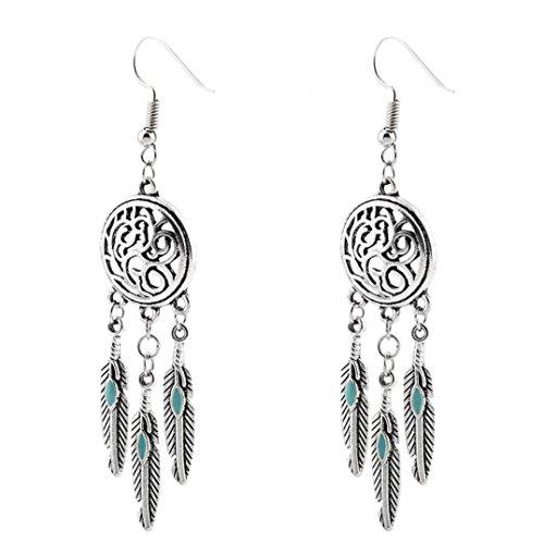 Clearance! Elogoog Womens Bohemian Feathers Earring Vintage Dangle Stud Ethnic Earrings 1 Pair (Silver 2)