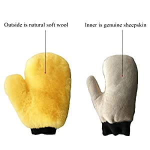 Sheepskin Car Wash Mitts by Okayda Super Soft, High Density, No Scratch and Lint Free Reusable 100% NATURAL Lambs wool Wash & Wax Mitten with Thumb Design for Auto Beige Single