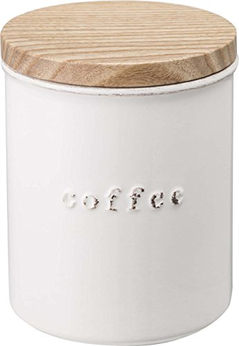 YAMAZAKI home 3428 Tosca Ceramic Canister Coffee WH Space Saving One Size White