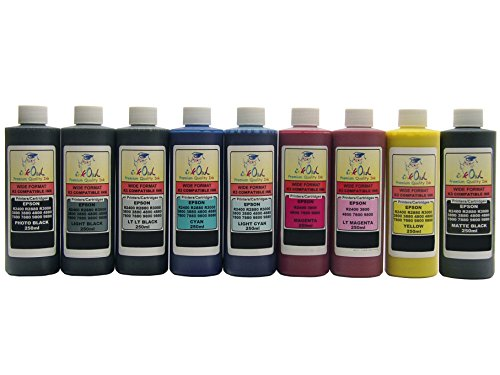 InkOwl Bulk Pigment Ink for use in EPSON Stylus Pro 3800, 4800, 7800, 9800 (9x250mL, Includes Matte Black)