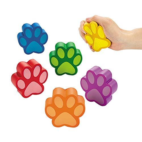 Fun Express Paw Print Shaped Stress Toy - Toys - Balls - Relaxables - 12 Pieces