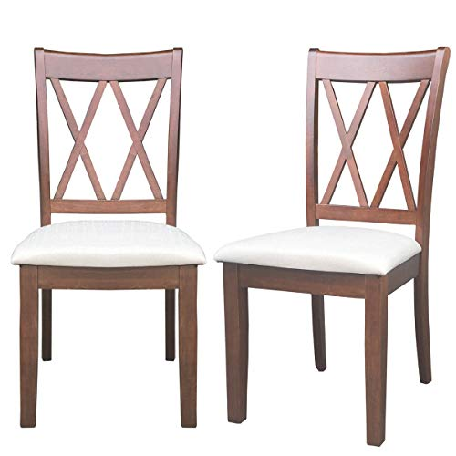 "Giantex Set of 2 Dining Chairs Wood Armless Chair Home Kitchen Dining Room High Back Chairs w/Fabric Padded Seat (19"" ×20.5""×39""(W×D×H), Coffee)"
