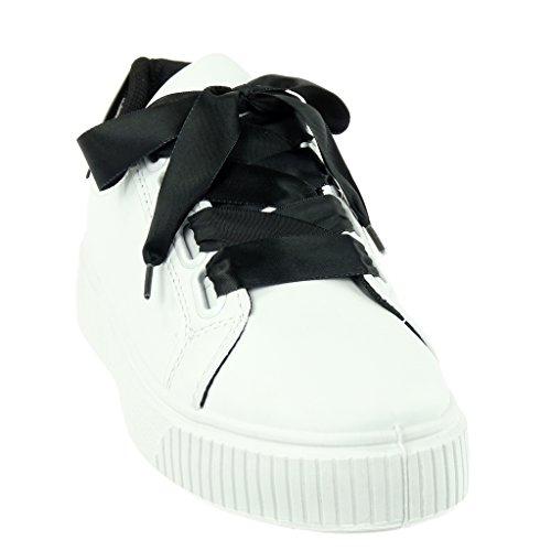 Verni Cm Ruban Chaussure 4 Talon Lacet Angkorly Noir Plat Satin Mode Baskets Tennis Femme TACTwRq8