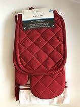 Red Sedona Towel Kitchen Set 2 Towels, 2 Pot Holders and 1 Oven Mitt