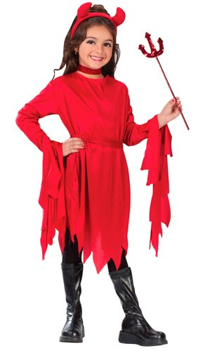 Fun World Girls Devil Costume, Multicolor, Medium -