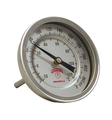 Winters TBM Series Stainless Steel 304 Dual Scale Bi-Metal Thermometer, 2-1/2'' Stem, 1/2'' NPT Adjustable Angle Connection, 3'' Dial, 0-250 F/C Range by Winters Instruments