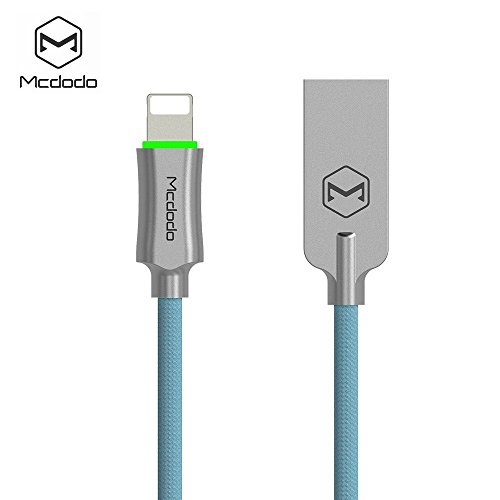 Mcdodo iPhone Smart LED Auto Disconnect Lightning nylon Braided 4FT/1.2M Sync Charge USB Data Cable For iPhone 8/8 Plus X 7/7 Plus, 6/6 Plus, 6s/6s Plus, 5s/5c/5, iPad Pro/Air /mini ,iPod (Blue) by MCDODO (Image #2)