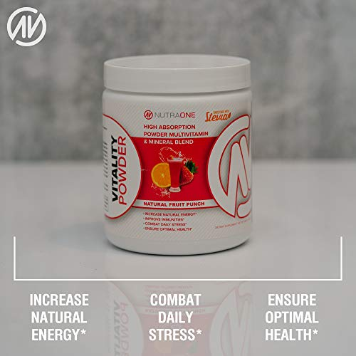 Vitality Vitamin Powder by NutraOne Powdered Vitamin and Mineral Supplement Fruit Punch – 30 Servings
