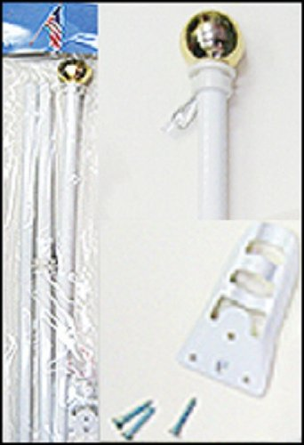 White Steel Flag Pole with Ball Top 6 Foot Wall Mount 6 Feet