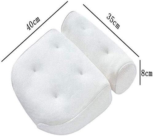 バスタブ枕、メッシュ3D PVCサクションカップSPA枕、バスルーム枕 (Color : White)
