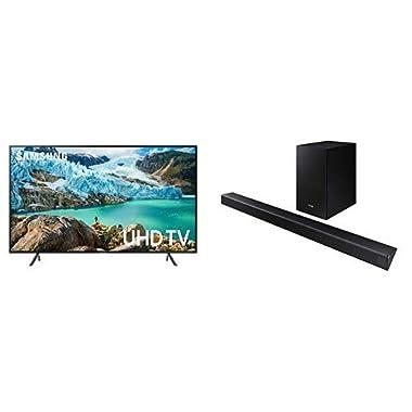 Samsung UN58RU7100FXZA FLAT 58'' 4K UHD 7 Series Smart TV (2019) with HW-R550 Sound Bar
