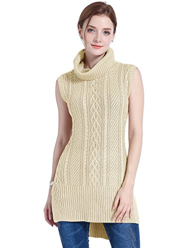 v28 Women's Cowl Neck Cable Knit Stretchable Sleeveless Tops Pullover Sweater (US Size 0-4, ()