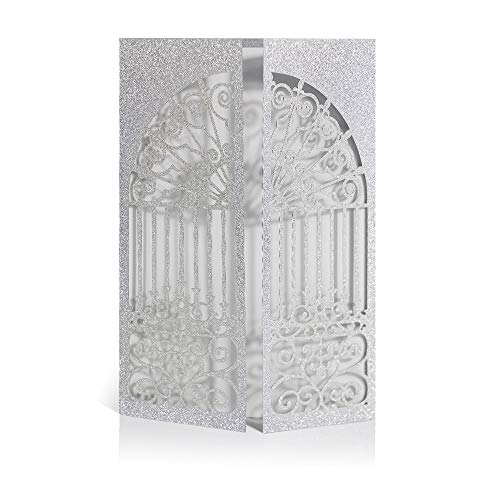 Laser Cut Printable Wedding Invitation kits - 25pcs 4.7''x7''Glitter Silver Open Door Invitations Cards With Printable Paper and Envelopes for Engagement Wedding Marriage Birthday Bridal Bride Shower -