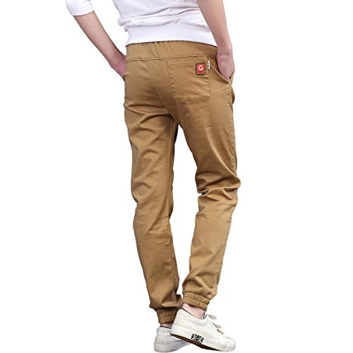 CNMUDONSI Kids Boys Pants Cotton Long Casual Elastic Waist With Drawstring Autumn Teenager Clothing (16T, M705-Khaki)
