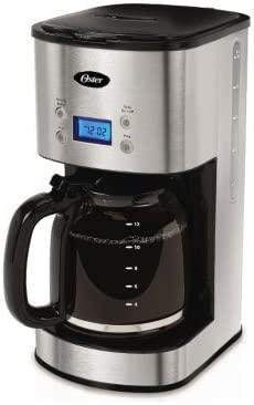 Oster COMINHKPR95607 12-Cup Programmable Coffee Maker BVST-JBXSS41-Stainless Steel, 1, Black, Silver