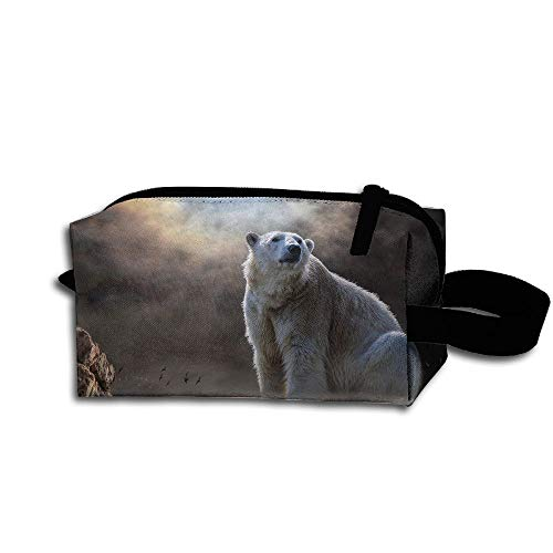 Clash Durable Zipper Wallet Makeup Handbag With Wrist Band Large Polar Bear Toiletry Bag -