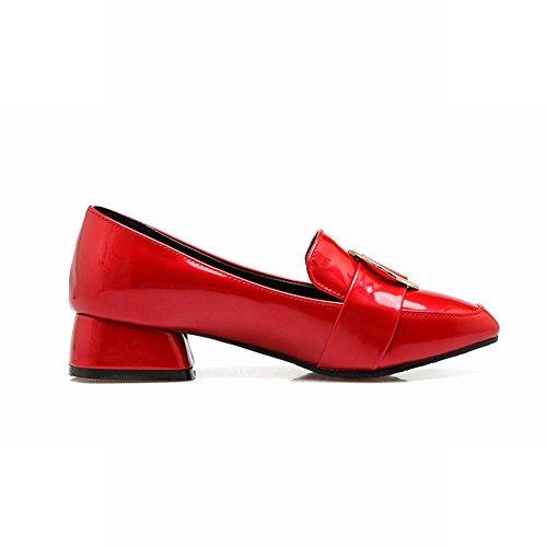 Charm Fot Kvinna Mode Lackläder Chunky Låg Klack Dagdrivaren Skor Röd