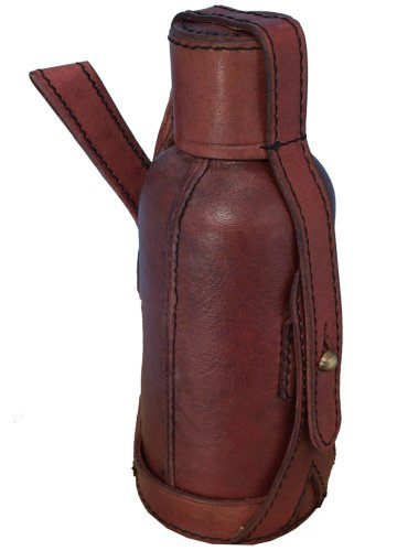 [Leather Drink Bottle Holder, red, with 600ml./20.28fl.oz. aluminum bottle, LARP] (Well Thought Out Halloween Costumes)