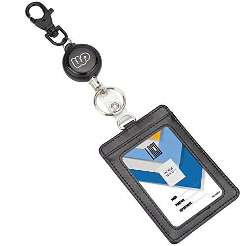 Wisdompro Retractable Reel with Heavy Duty Vertical 2-Sided PU Leather ID Badge Holder and Key Ring - Vertical