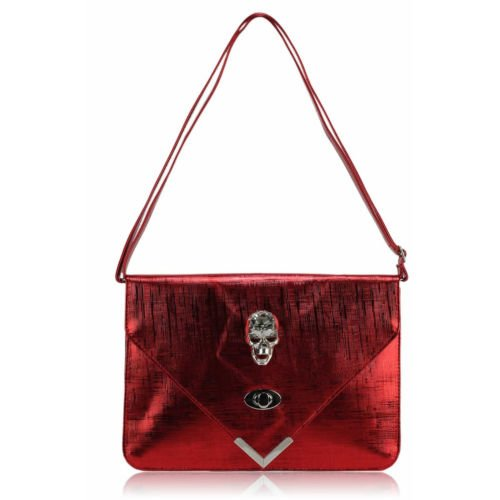 TrendStar - Cartera de mano para mujer Large rojo - Red Envelope Clutch Bag