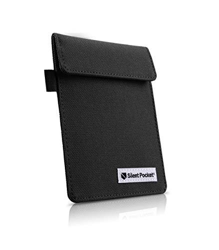 Silent Pocket Key FOB Guard Protector for Wireless Car Keys - RFID Blocking Faraday Cage (Black Canvas)