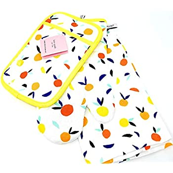 Kate Spade 3 Piece Kitchen Set,Pot Holder,Oven Mitt,Dish Towel (Scattered Citrus/Orange)