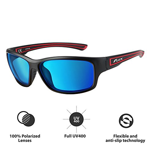 Flux Polarized Fashion Sunglasses with Anti-Slip Function and Light Frame - for Men and Women when Driving, Running, Baseball, Golf, Casual Sports and Activities: PT005 (Matte Black, Blue - Glasses Edge Polarized