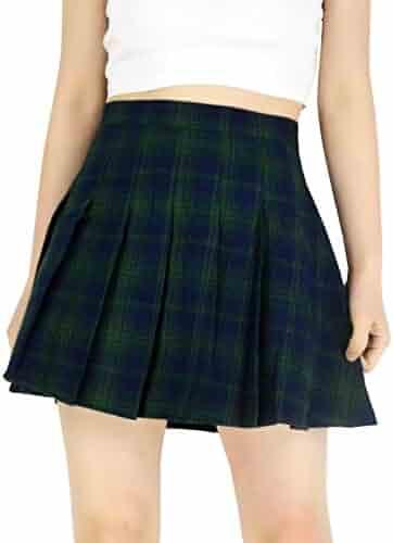 32dd815b6 YSJERA Lady's Flared Check Plaid Pleated A-Line Short Mini Skater Skirts