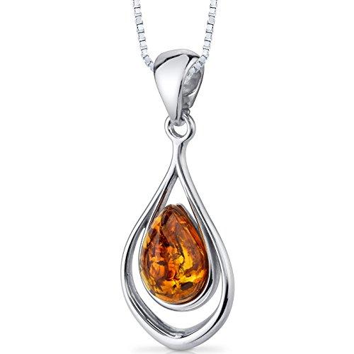 Baltic Amber Pendant Necklace Sterling Silver Cognac Color Tear Drop Shape