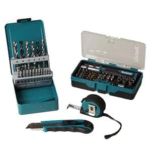 Makita - Set de brocas, puntas de destornillador, llaves de vaso, cúter y cinta métrica (67 piezas)Makita - Set de brocas, puntas de destornillador, llaves de vaso, cúter y cinta métrica (67 piezas)