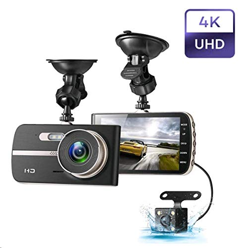 Dash Camera 1080P, EIVOTOR Car Camera DVR 4 Inch LCD Screen Full HD 140 ° Dual DashCam Front Rear Wide Angle Car Recorder with G-Sensor Night Vision Motion Detection WDR Parking Monitor Loop Recording