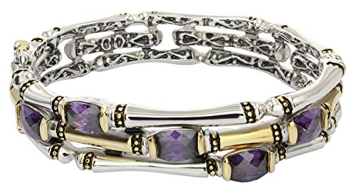 John Medeiros Canias Collection Two-Tone Three Row Hinged Bangle Bracelet with Purple Cubic Zirconia made in New England