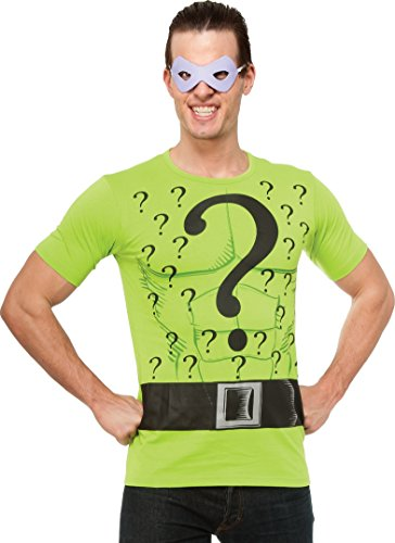 Rubie's DC Comics Justice League Superhero Style Adult Top and Mask The Riddler, Green, Large (Riddler Halloween Costumes)