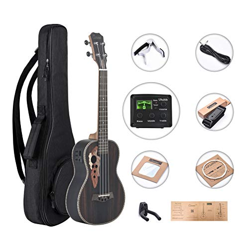 Bag Truss (Caramel CT904 Ebony Tenor Acoustic Electric Ukulele with Truss Rod with Aquila Strings, Padded Gig Bag, Strap and EQ cable)
