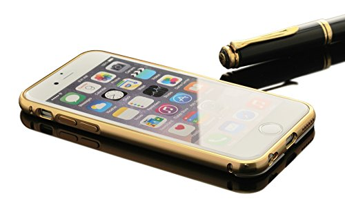 iProtect Luxus 2in1 Metall Schutzhülle und Bumper Apple iPhone 6, 6s (4,7 Zoll) Spiegel Hülle Hard Case Mirror Effect - gold
