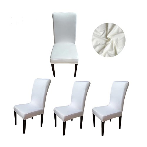 ChooseU Stretch 90% Polyester and 10% Spandex Removable Washable Short Dining Chair Slipcovers for Wedding Banquet Party Office(pack of 4) (Duck Short Dining Chair Slipcovers)