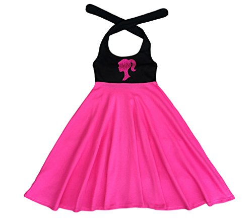 Barbie Girl Dress- Hot Pink Black Barbie Girl Dress- Barbie Girl Birthday Party Outfit