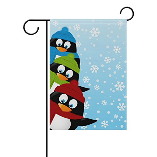 ALAZA Double Sided Funny Three Penguins on Winter Polyester Garden Flag Banner 12 x 18 Inch for Outdoor Home Garden Flower Pot Decor