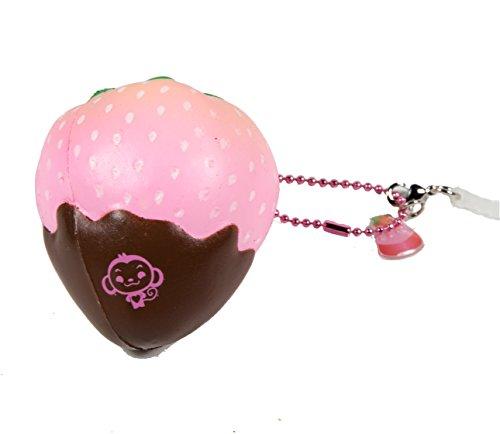 Puni Maru Mini Cheeki Strawberry Classic Pink Strawberry Dipped in Chocolate Squishy