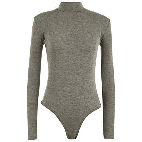 scuro grigio Top Maniche T shirt alta Tartaruga elasticizzata Janisramone lunghe Polo Donna Body Tinta Donna Collo unita 4AqaZ