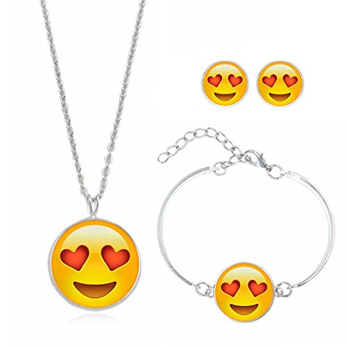 Emoji Necklace Bracelet Earrings  Jewelry Set