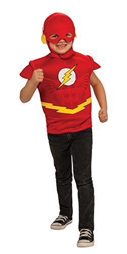 Muscle Tee Child Costumes (Flash Muscle Chest Costume Shirt with Cape and Headpiece)