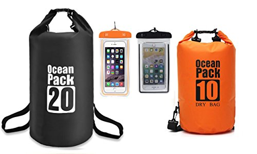Alwaysuc 2 PACK 10L+20L Floating Waterproof Dry Bag and Camping with Waterproof Phone Case – Professional Adventure Gear for Kayaking, Boating, Hiking, Fishing, Camping and Outdoor Travel,Swimming by Alwaysuc