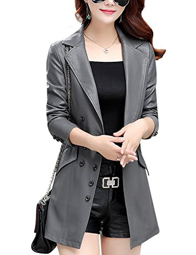 Tanming Women's Button Front Faux Leather Blazer Coat Jacket (Large, Grey) (Gray Leather Jacket)