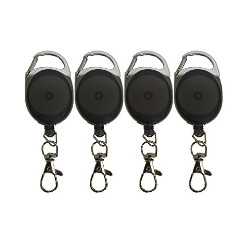 - Carabiner Retractable Badge Reel Holder ID Card Holders With Metal Cord And Lobster Clip Black 4 Pack By ToNic Innovation …