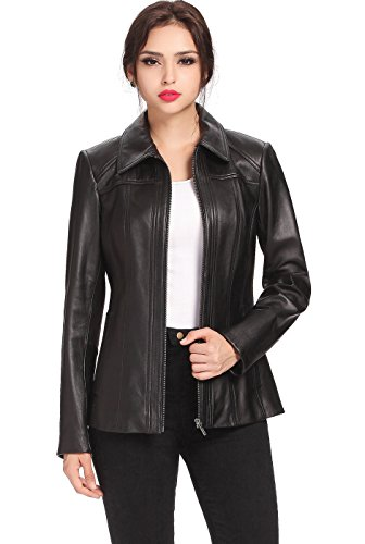 BGSD Women's Ellen Zip Front New Zealand Lambskin Leather Jacket - Black L ()