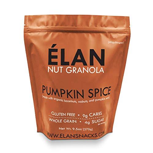 ELAN Pumpkin Spice Snack Granola, Low Carb Dessert, Healthy Organic Cereal, Limited Spiced Seasonal Fall Treat (Pecan Hazelnut Walnut Sweet Potato, 9.5oz Mini ()