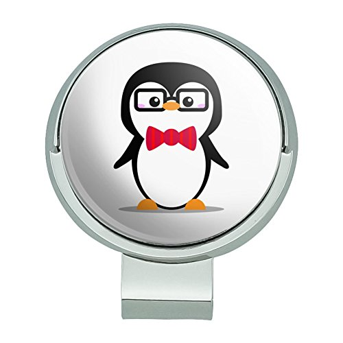 Graphics and More Cartoon Penguin with Bow Tie and Glasses Golf Hat Clip With Magnetic Ball Marker